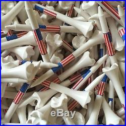 100 3 1/4 3.25 Pride Evolution American Flag USA Golf Tees White Wholesale