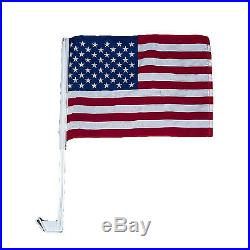 100 Pack 12x16 USA American U. S. A. Car Window Clip on Vehicle 17inch Pole Flag