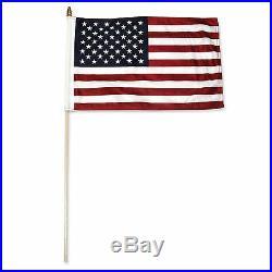 100 pack 12x18 12x18 USA American Stick Flag wood staff (24 inch staff)