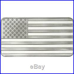 10oz American Flag Silver Bar USA. 999 fine silver with free shipping