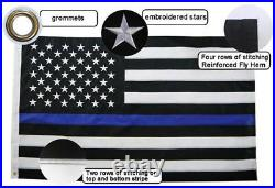 10x15 FT Thin Blue Line American Flag Police (Embroidered Stars + Sewn Stripes)