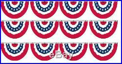 (12 Pack) 3x5 USA American America U. S. Bunting Fan Flag Banner Grommets 5x3
