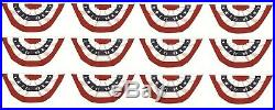 (12 Pack) 3x6 USA American Pleated Super-Poly Printed 2ply Flag 3x6' Bunting Fan