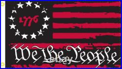 12x18 Betsy Ross 1776 We The People Black & Red USA American Boat Flag 100D