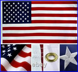 12x18 Ft USA American 300D Embroidered Flag Grommets (Heavy Duty Military Grade)