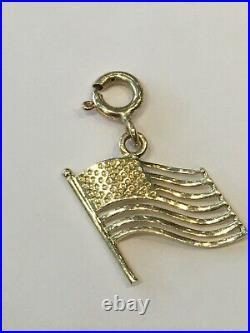 14 K Gold American Flag USA Pendant Charm