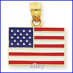 14 KT YELLOW Gold & Enamel American Flag Pendant Charm USA NEW Red White & Blue