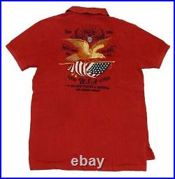 $145 Polo Ralph Lauren Men Custom Fit USA American Flag Eagle Pique Shirt Red XL