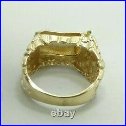14K Yellow GoldEnamel Painted American Flag Gold Nugget Band Ring Sz9 7.6g D9126