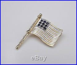 14k Gold Diamond Sapphire United States USA American Flag Brooch Pin 1.2 OG231