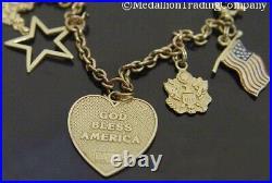 14k Yellow Gold Patriotic USA American Flag Heart Star Rolo Charm Bracelet 7
