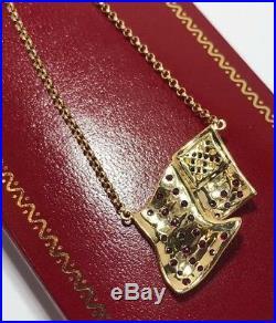 14k Yellow Gold Ruby Sapphire Diamond USA American Flag US Rolo Necklace Pendant
