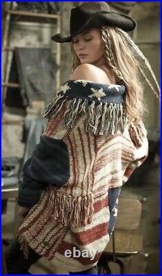 171. Ralph Lauren XS/S Denim Supply USA Flag Patchwork Fringe Sweater Cardigan