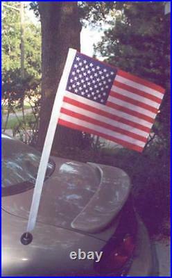 18 FT. STEEL FLAGPOLE WITH (1) 3'x5' U. S FLAG (1) 4'x6' FLAG & (2) ANTENNA FLAGS