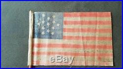 1876 13 STAR CENTENNIAL U. S. AMERICAN PARADE FLAG rare snow flake pattern