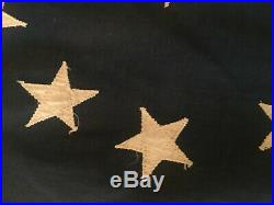 1930's 13 Hand Sewn Stars Cotton USA American Flag Banner, Bunting, 10 ft long
