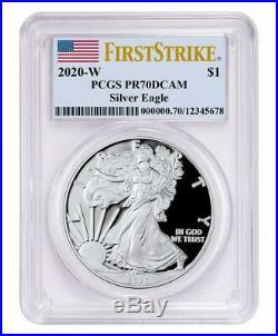 2020-W Silver American Eagle PCGS PR70 DCAM FS 1 oz SIlver USA Flag Label Coin