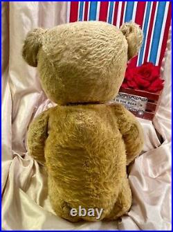 24 Early Antique American 1914 Mohair Teddy Bear Custom USA Flag Hat And Collar