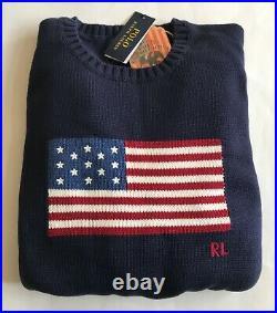 $248 NWT Mens Polo Ralph Lauren Iconic American USA Flag Crewneck Sweater Navy