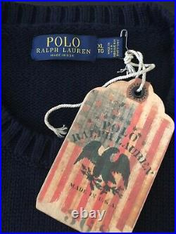$248+ Nwt Polo Ralph Lauren Mens XL Iconic Navy USA Flag Cotton Sweater