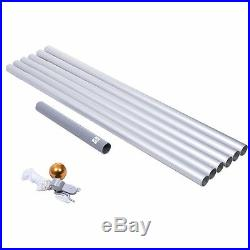 25' Official 3'x5' American Flag Aluminum Ground Sectional Halyard Pole Set USA