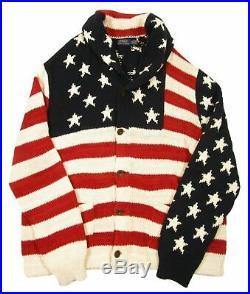 $295 NWT MEDIUM MEN Polo Ralph Lauren AMERICAN Sweater USA Flag Cardigan Knit