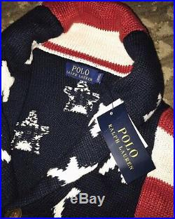 $295 NWT MEN Polo Ralph Lauren AMERICAN Sweater USA Flag Cardigan Knit XL