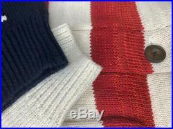 $295 NWT SIZE LARGE MEN Polo Ralph Lauren Blue Sweater USA Flag Cardigan Knit
