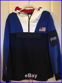$298 NWT POLO RALPH LAUREN Spring 2020 Sz L Fleece Hybrid USA Hoodie Sweatshirt