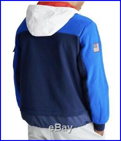 $298 NWT POLO RALPH LAUREN Spring 2020 Sz XL Fleece Hybrid USA Hoodie Sweatshirt