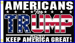 2x3 AMERICANS FOR TRUMP Patriotic KEEP AMERICA GREAT Black FLAG 100D USA BANNER