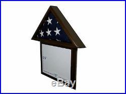 3 X 5 Black Walnut And Frame Flag Display Case Capital USA American Military Box