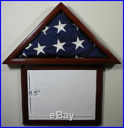 3 X 5 Mahogany With Frame Flag Display Case Capital American USA Military Box