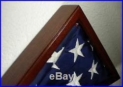 3 X 5 Mahogany With Frame Flag Display Case Capital American USA Military Box