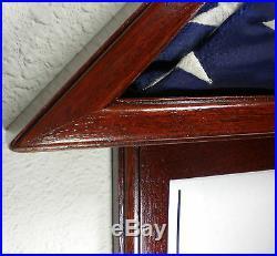 3 X 5 Sapele With Frame Flag Display Case Capital American USA Military Box