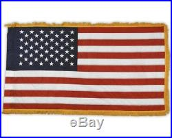 3'x5' American Indoor USA Flag Gold Fringe Sleeve Sewn Stripes Embroidered Stars