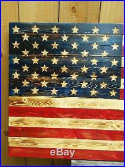 37x 19 Handmade Wood Patina American Flag Distressed United States Of America