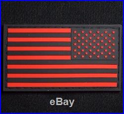 3d Pvc USA Us United States American Flag Tactical Black Ops Red Reverse Patch
