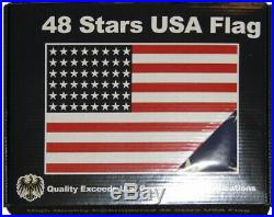3x5 Embroidered 48 Star USA American Tea Stain Vintage 100% Cotton Flag 3'x5