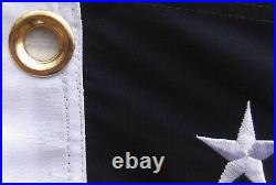 3x5 Embroidered American 48 Star Linear 100% Cotton Flag 3'x5' (Hand Sewn)