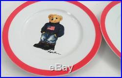 4 Pc 2013 Ralph Lauren USA American Flag Sweater Bear Porcelain Dessert Plates