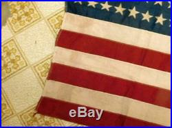 46 Star American Flag USA Antique 44 x 27 Patriotic Collectible