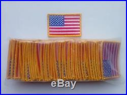 50 Pcs USA American Flag (G) Embroidered Patches 3x2 iron-on