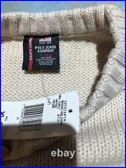 68. NWT Vintage Polo Ralph Lauren American Flag Cable Knit Sweater XL $248