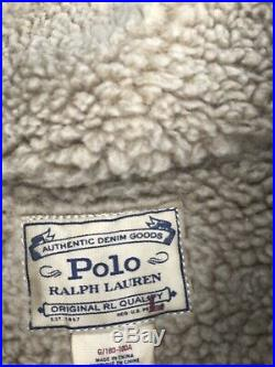 $685 Polo Ralph Lauren Men USA Flag Southwest Vintage Trucker Denim Jean Jacket