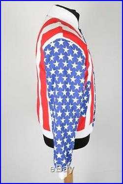 70s Vintage Stars & Stripes Quilted Bomber Jacket Womens M USA American Flag