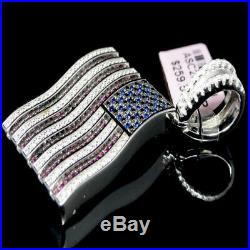 925 Real Sterling Silver American Flag Pendant Charm Necklace Patriot USA Chain