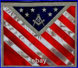 AMERICAN Blue Lodge Patriotic Masonic Freemason U. S. Flag APRON HAND MADE