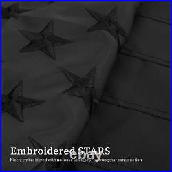 All Black American BOAT Flag 12X18' Embroidered USA Blackout Tactical GROMMET