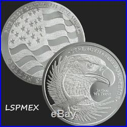 American Bald Eagle With USA Flag Strength, Freedom & Pride 5 oz Silver Round
